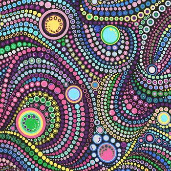Baksidestyg Mardi Gras Circles & Dots 275 cm