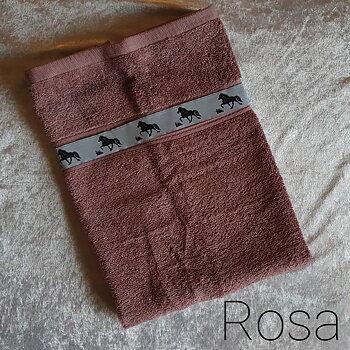 Handduk Rosa med islandshästar  50 x 70 cm, tillval Namnbrodyr