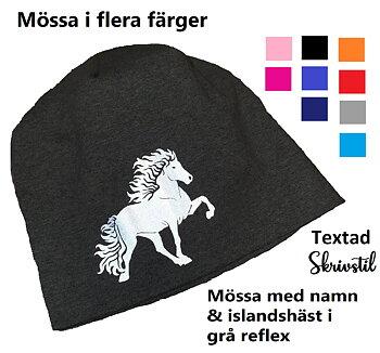 Nr 24 Snygg  mössa i olika färger med  reflextryck islandshäst med namn
