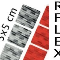Reflex klisterdekaler 5 x 5 cm röd & vit