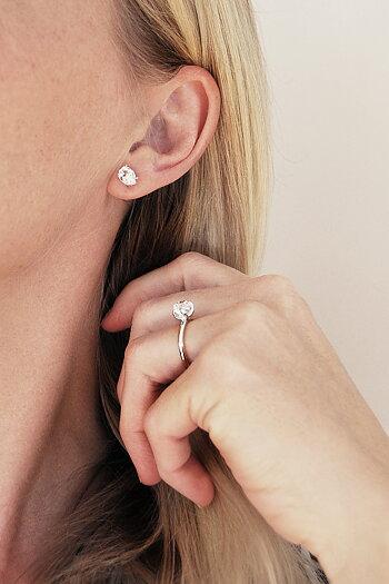 UNCUT Herkimer Diamond silver ring