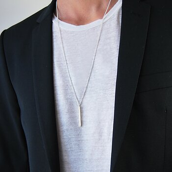 MILA MAN 45° silver necklace