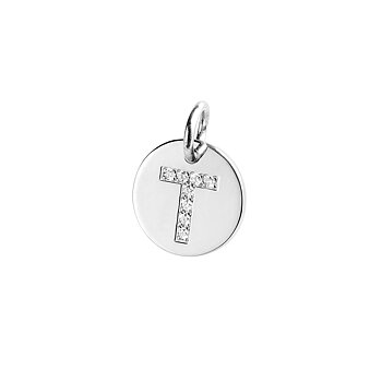 LETTER CHARM silver+diamonds
