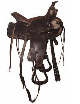 """Westernsadel i läder, ponny. 13"""""""