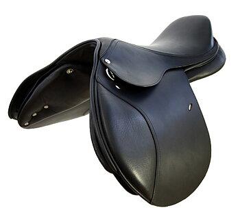 Hoppsadel i läder med flexibom, inklusive 5 st. koppjärn