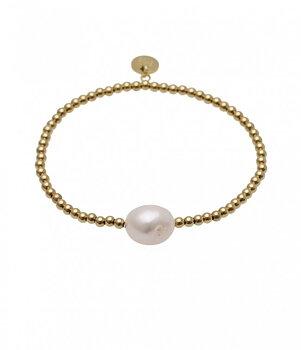 BUD TO ROSE - Elastic bracelet w. pearl - Gold
