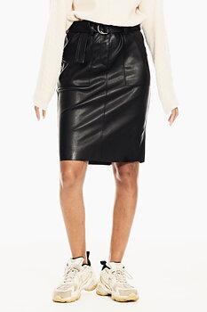 GARCIA - Pennkjol med fickor och bälte - Black leather look