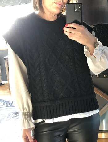 NEO NOIR - Malley Cable Knit Waistcoat