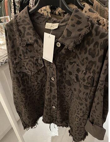 Denimjacka Leopard  - Tvättad Mörkbrun
