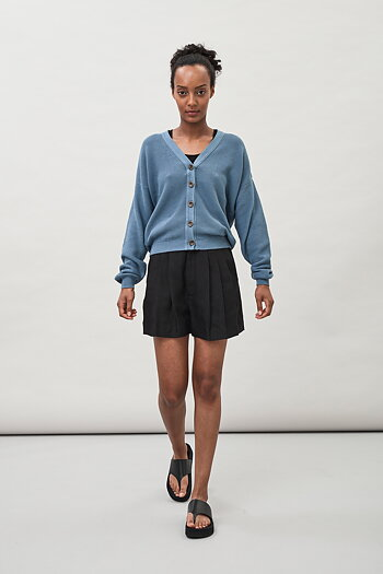 Clea Piqué Cardigan - Dusty Blue