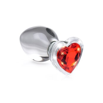 Red Heart Glass Anal Plug Small