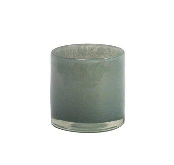Olsson & Jensen- Ljuslykta glas, Blå/grå 10cm