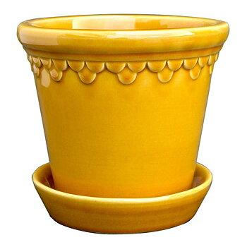 Bergs Potter- Kruka med fat, gul glaserad Köpenhavner