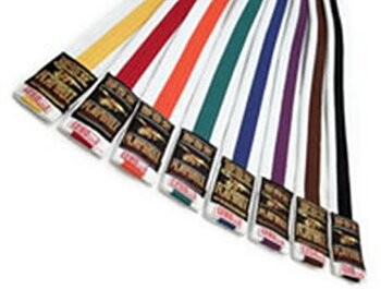 Moon White with coloured stripe belt 4 - 4,5  cm, 200 cm