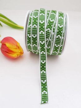Leksandsband Grön/Vit 9 mm
