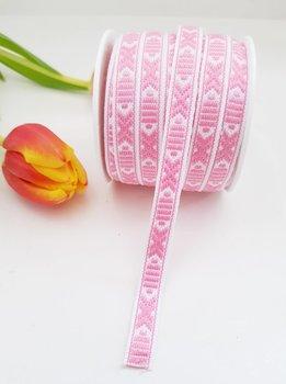 Leksandsband Rosa/Vit 9 mm