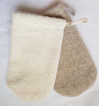 Duschvante i tjock och härligt rivig linne- och bomullsfrotté