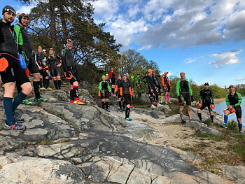 Swimrun-träning i Brunnsviken