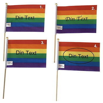 "Prideflagga ""med din text"" mini på pinne"