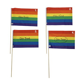 "Pride flag ""with your text"" on a pole - medium"
