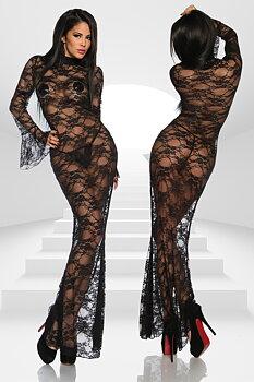 Lång svart Spetsklänning