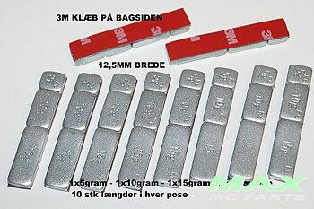 Balansvikter MC 5/10/15 gr Silverfärgade