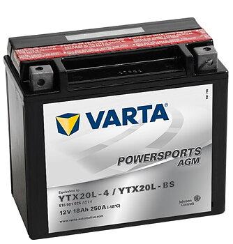 YTX20L-BS VARTA AGM Batteri  Buell, H-D, Honda, Kawasaki, Yamaha