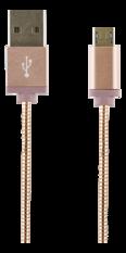 STREETZ USB-synk-/laddarkabel, metallklädd, 1m, Micro - Standard, rosé