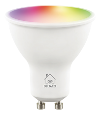 Deltaco Smart Home LED-lampa, GU10, WiFI 2,4GHz, 5W, 470lm, dimbar, 2700K-6500K, 220-240V, RGB