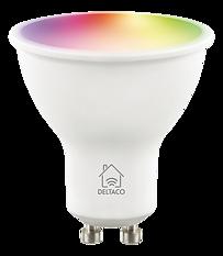 Deltaco Smart Home LED-lampa, GU10, WiFI 2,4GHz, 5W, 470lm, dimbar, 2700K-6500K, 220-240V, RGB