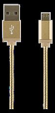 STREETZ USB-synk-/laddarkabel, metallklädd, 1m, Micro - Standard, guld