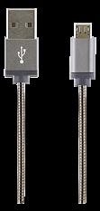 STREETZ USB-synk-/laddarkabel, metallklädd, 1m, Micro - Standard, grå