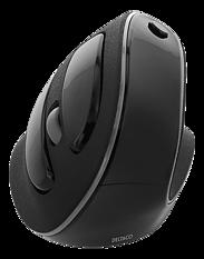 Deltaco Office Vertikal Ergonomisk trådlös mus, högerhänt, 10 m räckvidd, svart