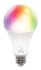 Deltaco Smart Home LED-lampa, E27, WiFI 2,4GHz, 9W, 810lm, dimbar, 16miljoner färger, 220-240V