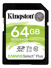 Kingston Canvas Select Plus SDXC, 64GB, Klass 10 UHS-I, svart
