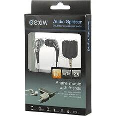 Dexim Y-adapter för ljud med ett par in-ear öronsnäckor, svart