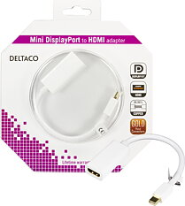 Deltaco Mini DisplayPort till HDMI-adapter med ljud, 0.2m, vit