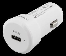 Deltaco Billaddare med USB-C, 10-30V input, 5V 3A 15W output, USB-C hona, vit