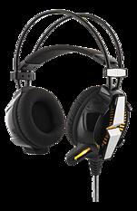 Deltaco Gaming vibrerande stereo headset med LED, 50mm element, 2,1m kabel, 32Ω, svart