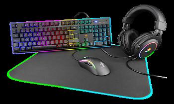 Deltaco Gaming 4-in-1 RGB Gaming Gear Kit, Headset/Tangentbord/Mus/Musmatta, svart/RGB