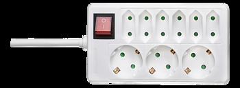Deltaco Grenuttag med 3xCEE 7/4 och 6xIEC 60906-1 uttag, 1 strömbrytare, 1,5m kabel, vit