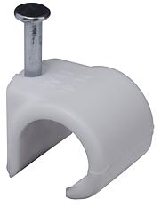 Ledningshållare i plast för rund kabel, 5-7mm, 100-pack, vit
