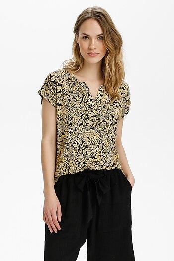 Kaffe - Edmonda Jersey Blouse SS / T-shirt / Black / Yellow Leaf