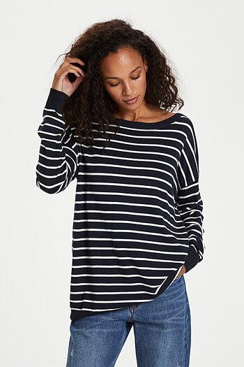 Kaffe - Mala Pullover Long Sleeve Midnight Marine with chalk stripes