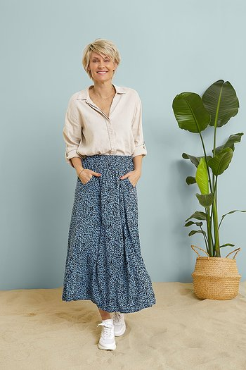 Kaffe - Barbara Skirt Quiet Harbour / Black Animal