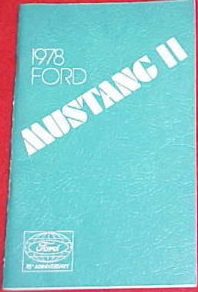 1978 Ford Mustang II King Cobra II Owner's Manual