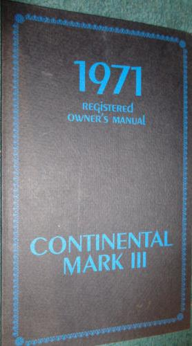 1971 Lincoln Continental Mark III Owners Manual