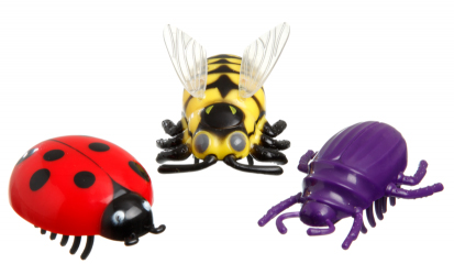 Kattleksaker i form av insekter som går på batteri.