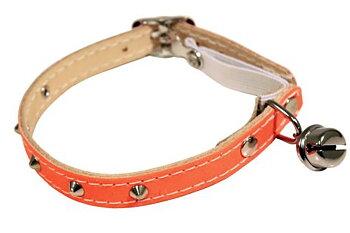 Katthalsband reflex orange med nitar