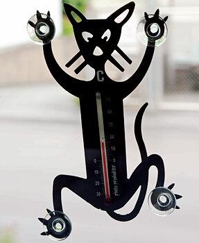 Termometer med kattmotiv som fäster på fönsterrutan med sugproppar.